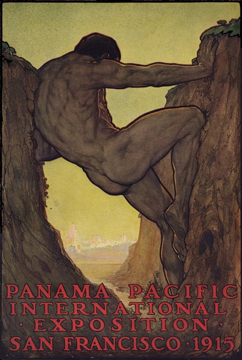 """The 13th Labor of Hercules"", by Perham Wilhelm Nahl; poster for the 1915 Panama-Pacific International Exposition, depicting the Canal in a mythological allegory"