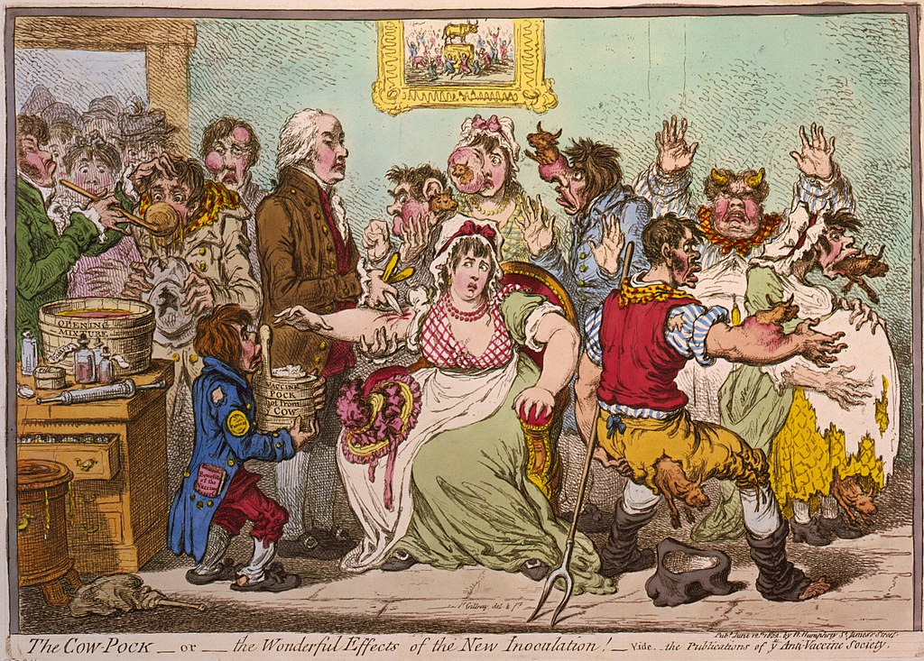 A cartoon from the Anti-Vaccine Society, 1802