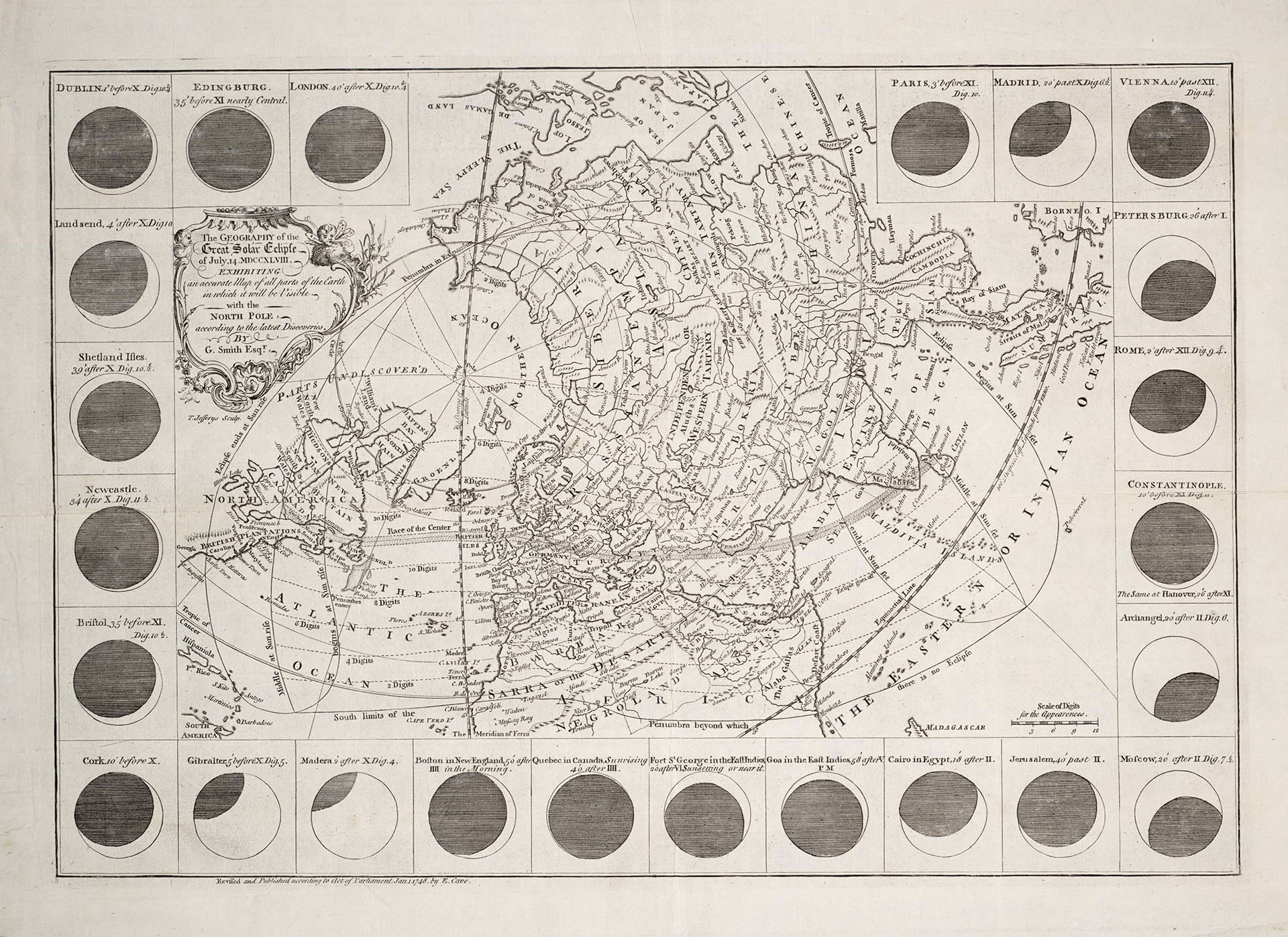 The Geography of the Great Solar Eclipse of July 14, MDCCXLVIII, Exhibiting an accurate Map of all parts of the Earth in which it will be Visible