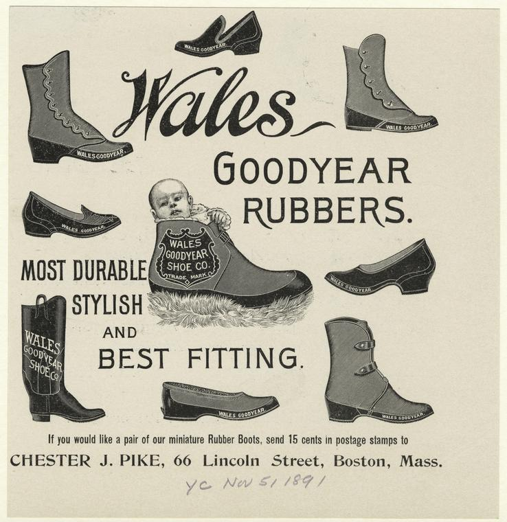 Ad for Wales Goodyear rubbers, 1891