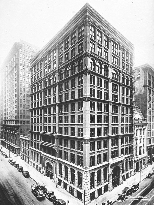 The Home Insurance Building in Chicago, completed 1885, was the first steel-frame skyscraper