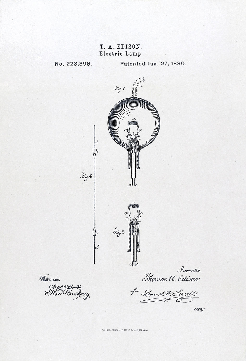 Edison's patent on the light bulb, 1880