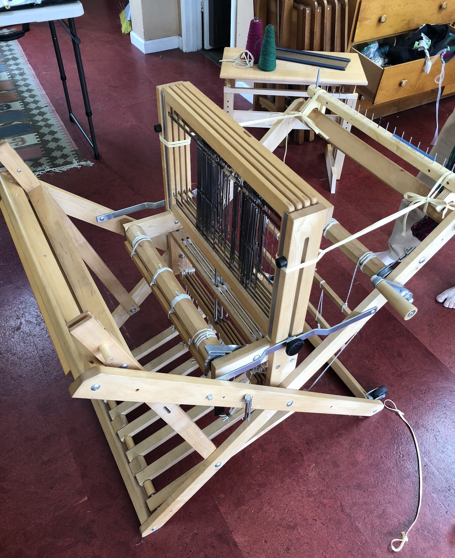 The handloom I used. Note the four heddle frames