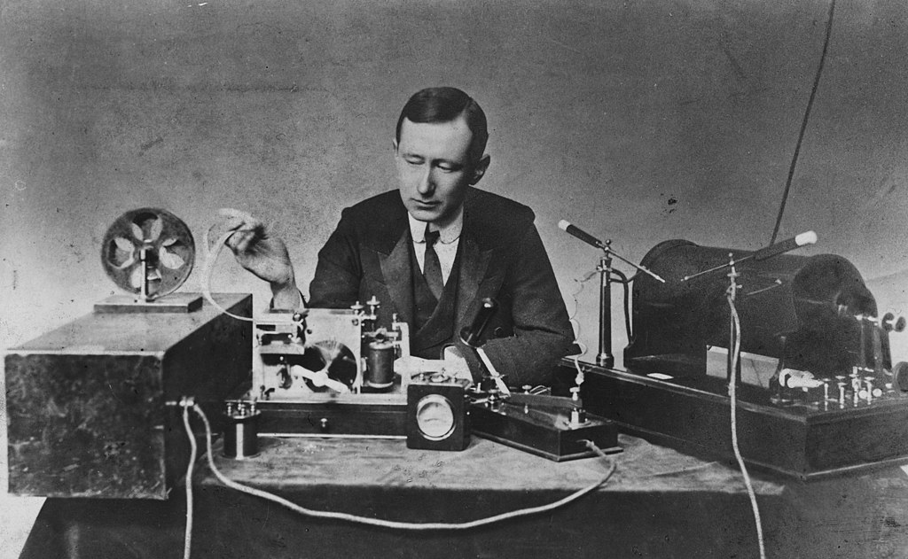 Marconi with his radio equipment