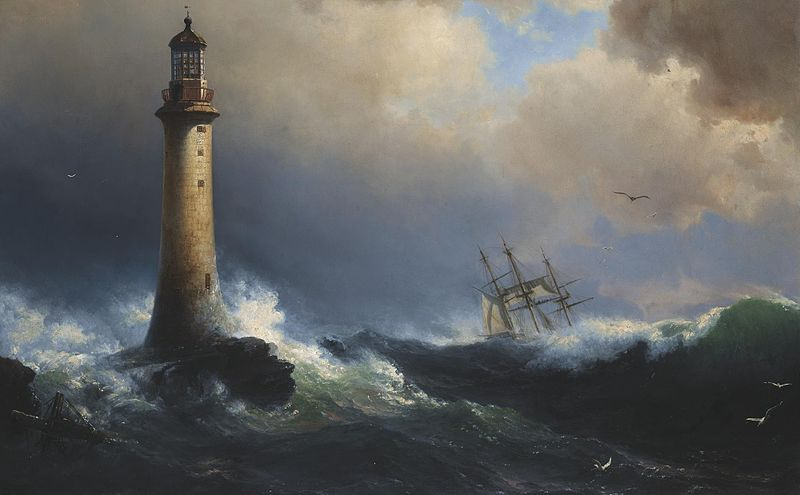 """Shipping off the Eddystone Lighthouse"", attributed to Vilhelm Melbye"