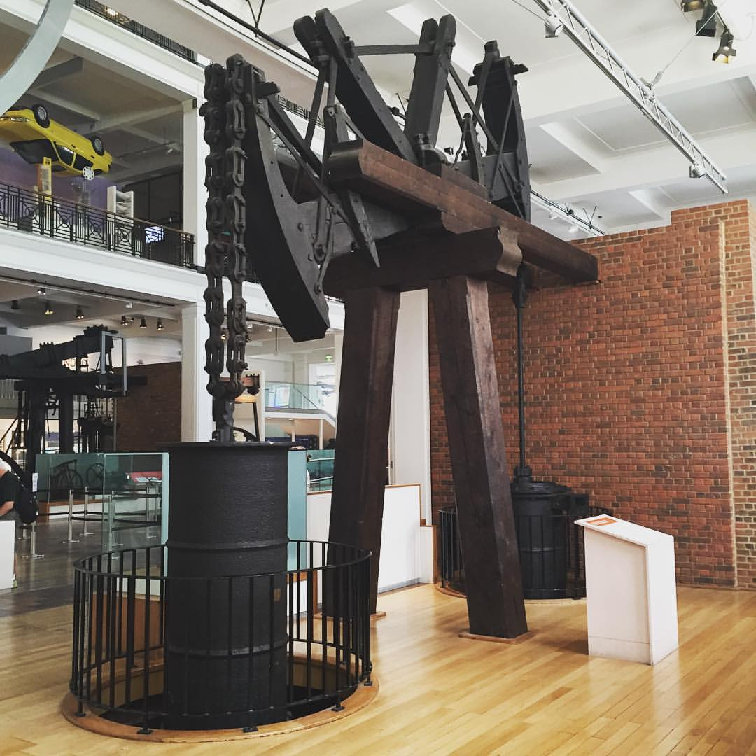 """Old Bess,"" an early steam engine, at the London Science Museum"