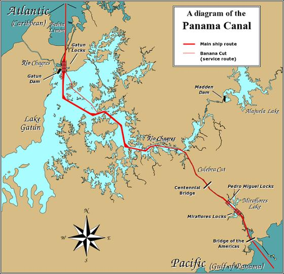 Diagram of the Panama Canal, showing the ship route across Lake Gatun