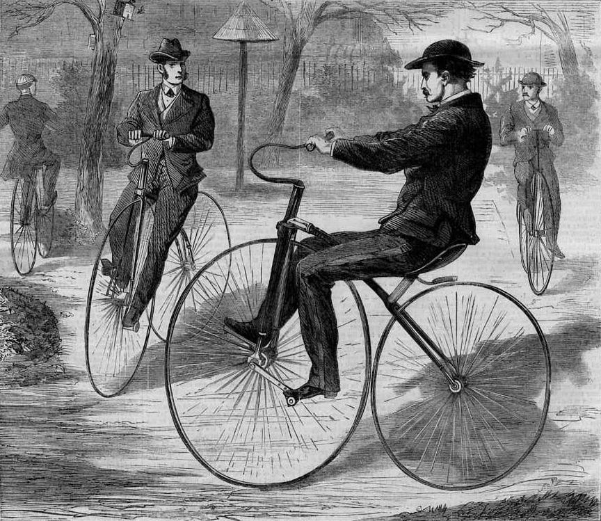 """The American Velocipede"", wood engraving by Theodore Davis, Harper's Weekly, Dec 1868"